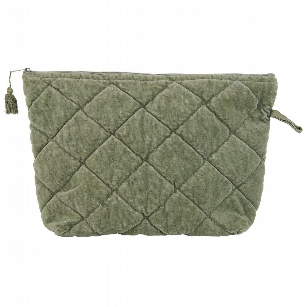 Cotton Velvet Washbag - Quilted - Dusty Green